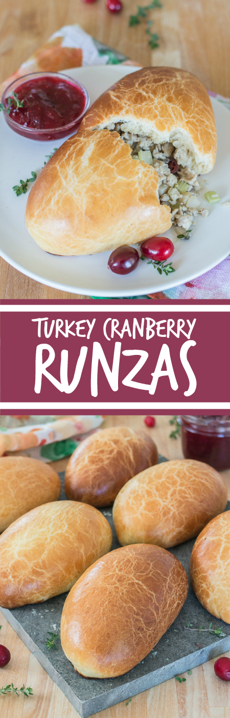 Light, tender dough encases a warm, thyme-laced turkey filling in these Turkey Cranberry Runzas. These deliciously satisfying stuffed rolls taste like an inside-out turkey dinner.