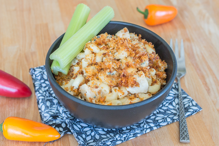 This Buffalo Chicken Macaroni and Cheese recipe delivers classic comfort food with an attitude. From the crisp, fiery breadcrumb topping to the creamy, rich Gorgonzola sauce, this chicken and pasta dish will satisfy your taste buds with a serious explosion of flavors.