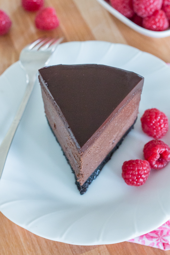 Rich and luscious, this Bittersweet Chocolate Cheesecake delivers big flavor in pint-size packaging. With its crisp chocolate cookie crust, smooth chocolate cheesecake filling, and decadent ganache topping, this dessert will delight both chocolate and cheesecake lovers.