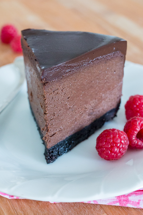 Rich and luscious, this Bittersweet Chocolate Cheesecakedelivers big flavor in pint-size packaging. With its crisp chocolate cookie crust, smooth chocolate cheesecake filling, and decadentganache topping, this dessert will delight both chocolate and cheesecake lovers.