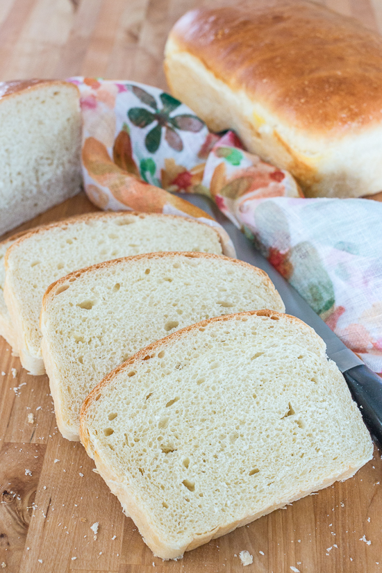 With a glossy golden crust and creamy white interior, thisClassic Sandwich Bread is tender and silky yet sturdy enough for piling high with cold cuts, veggies, and spreads or grilling with your favorite cheese.