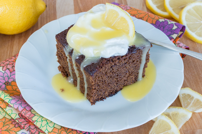 Moist and deeply spiced, this Old Fashioned Gingerbread recipe delivers comfort food at its best. With a dollop of whipped cream and a drizzle hot lemon sauce, the warm spices and earthy molasses richness of this classic American quick bread make it a superb fall treat.