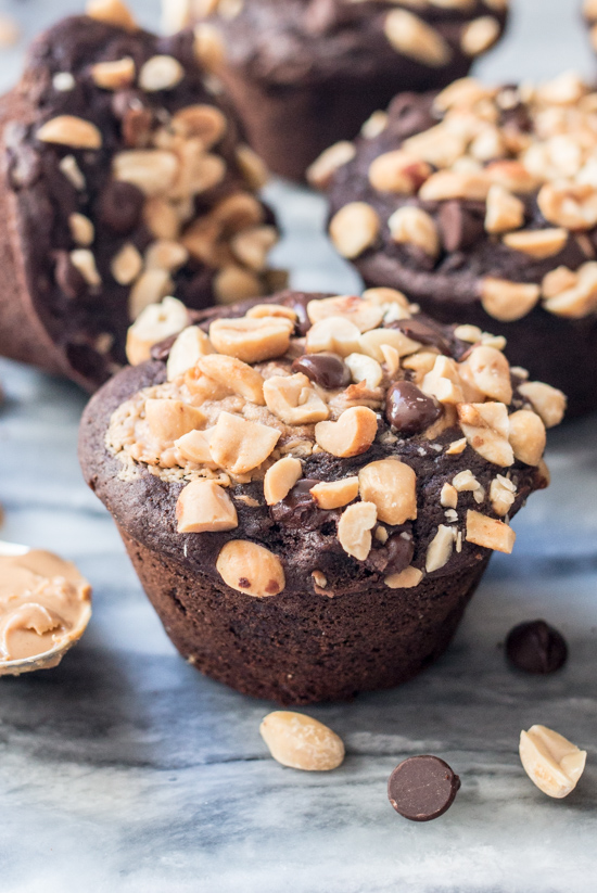 Tender and delicious, theseChocolate Peanut Butter Muffinscombinetwo great flavors in a satisfying treat just right for breakfast or snack time.