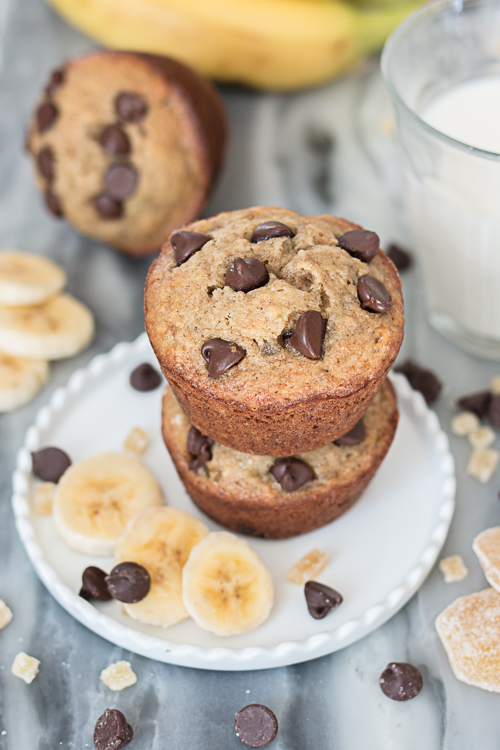 Fruity and moist, these Ginger-Chocolate Chip Banana Muffins include generous quantities of crystallized ginger and chocolate chips for extra flavor and richness.