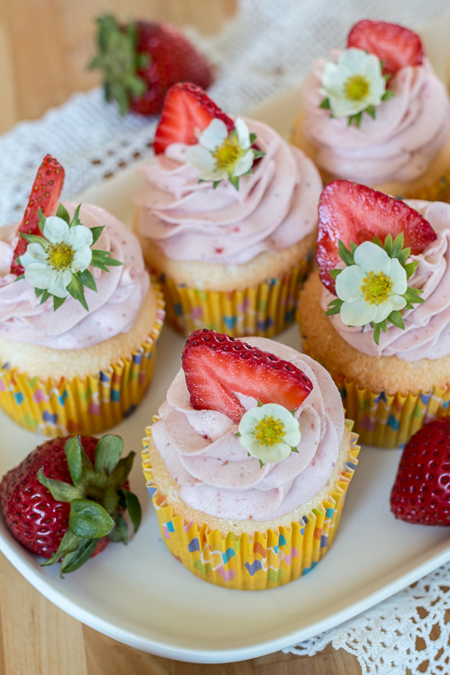 The airy, delicate texture of these Angel Food Cupcakes pairs perfectly with sweet and light Strawberry Whipped Cream.