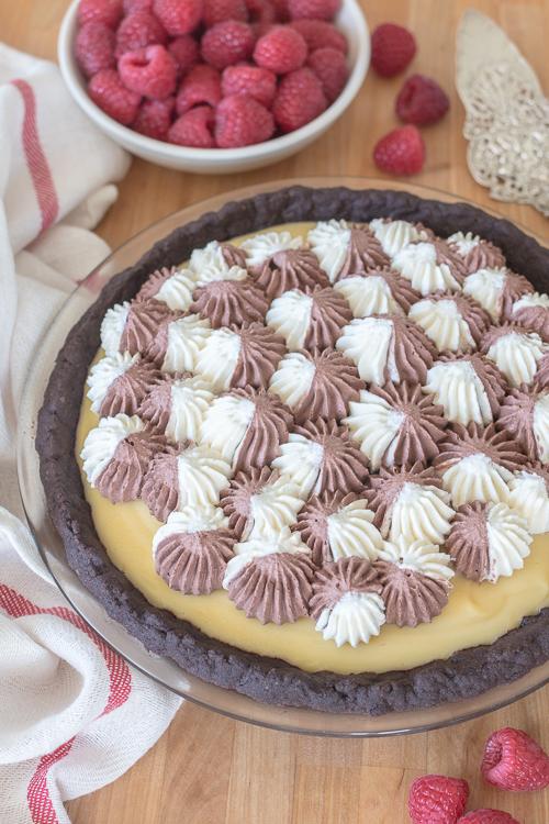 Smooth, luscious vanilla pudding combines delightfully with a tender-crisp chocolate crust in this Vanilla Cream Pie recipe.