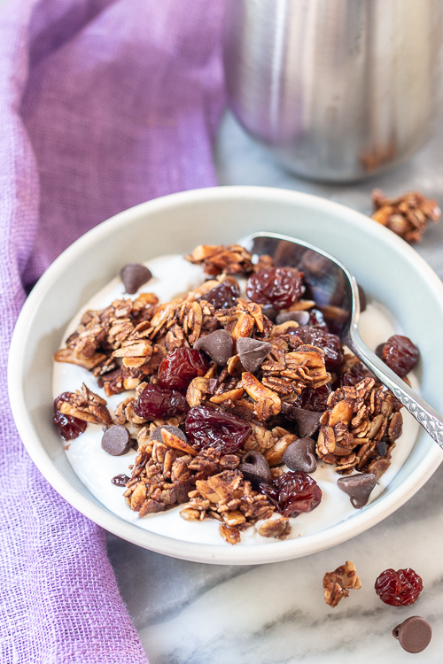 With cocoa nibs, cocoa powder, and chocolate chips, this Bittersweet Chocolate and Cherry Granola delivers deep chocolate flavor with bursts of tart cherry sweetness. Since it's mostly oats, we're calling it breakfast!