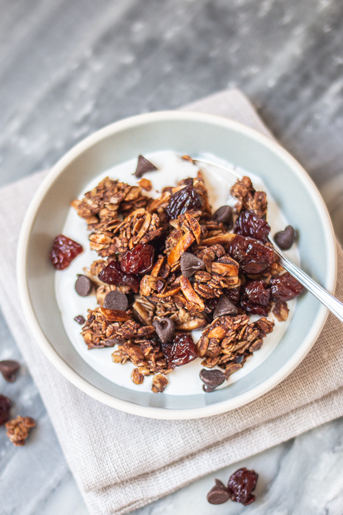 With cocoa nibs, cocoa powder, and chocolate chips, this Bittersweet Chocolate and Cherry Granola delivers deep chocolate flavor with bursts of tart cherry sweetness.
