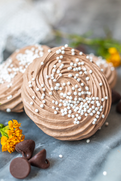 With crisp, crunchy exteriors and gooey, soft centers, these Chocolate Meringue Cookies deliver rich chocolate flavor with an impossibly light and airy texture.