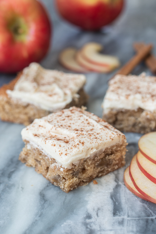 Sweet Apple Blondies with Maple Frosting deliver deliciously satisfying fall flavors in this easy, comforting recipe.