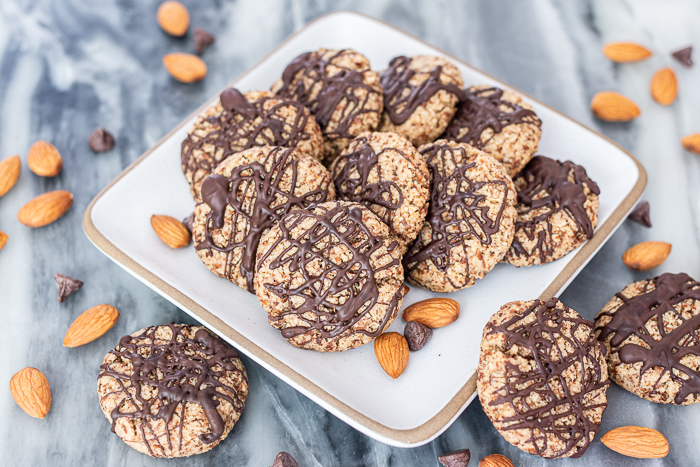 Moist, chewy, and nutty, these flavorful Chocolate-Glazed Almond Cookiesare a satisfying, easy-to-prepare sweet treat.