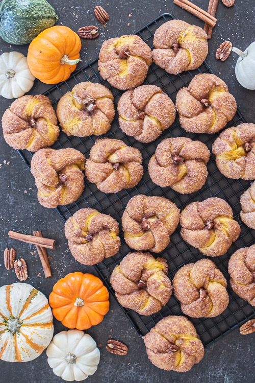 With pumpkin dough and a crisp, cinnamon-sugar coating, these squash-shaped Pumpkin Cinnamon Buns add sweetness and fun to fall festivities!