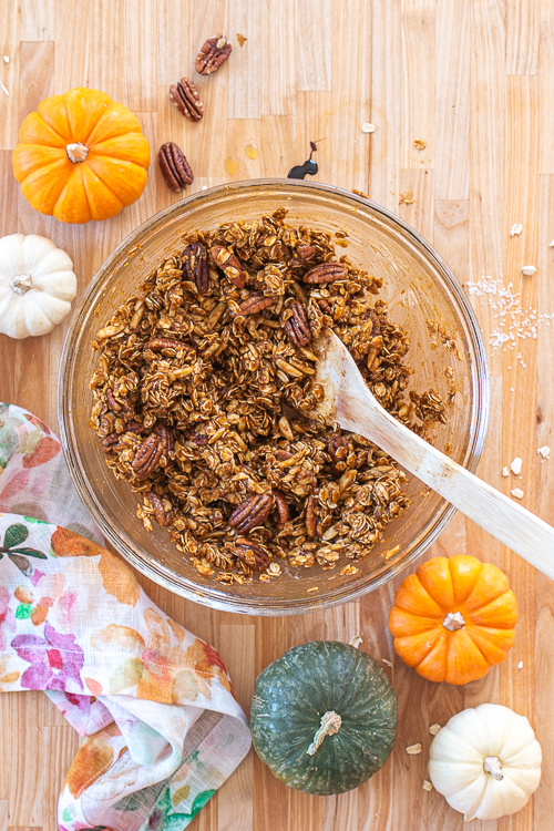 Loaded with pecans, almonds, dried cranberries, and plenty of pumpkin, this spiced Pumpkin Granola delivers delicious fall flavors with a satisfying crunch!