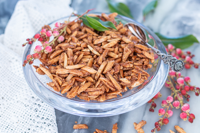 Crunchy, salty, and sweet, these cinnamon-spiced Candied Almond Slivers make a tasty topping for dishes of all kinds. They're great for snacking, too!