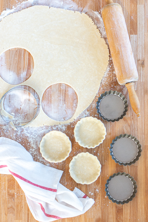 Use a cookie cutter to shape the pastry for the tart shells.