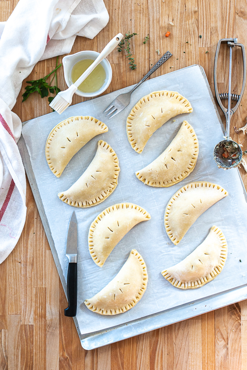 Chicken Pot Pie Turnovers deliver the homey comfort of chicken pot pie in a tidy package that's perfect for eating by hand.