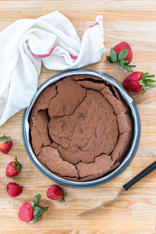 Chocolate cake base for Strawberry Ice Cream Cake