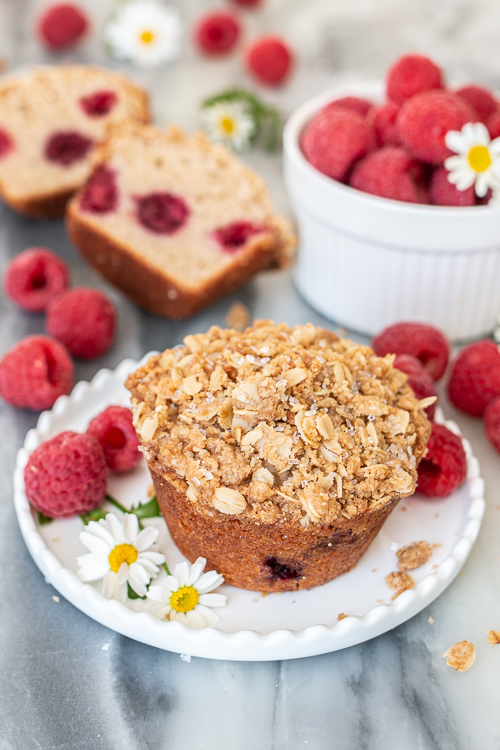 Spiced with cinnamon and cardamom, these quick and easy Raspberry Muffins bake into light and tender treats with a satisfying, crunchy streusel topping.
